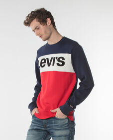 컬러블록 크루넥 스웨터