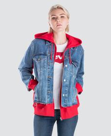 EX- 보이프렌드 하이브리드 후디드 트러커 자켓