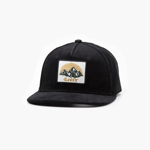 코듀로이 로고 패치 플렛 브림 모자